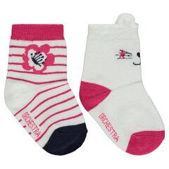 Juego de 2 pares de calcetines variados con motivo de gato/rayas de jácquard