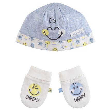 Conjunto de gorro y guantes de algodón ecológico con dibujo de Smiley
