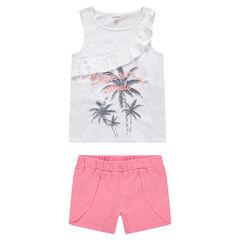 Júnior - Camiseta de punto con volante y palmeras estampadas
