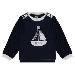Jersey de punto con forma de marinera y parche de barco de punto