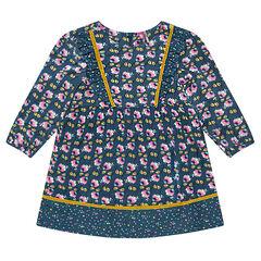 Vestido de flores con tejido vaporoso de viscosa