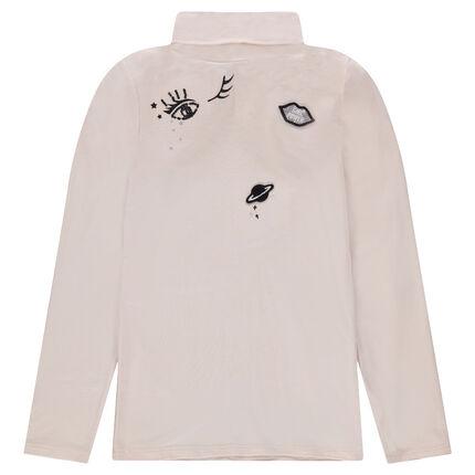 Júnior - Camiseta interior de cuello vuelto de punto con parches cosidos