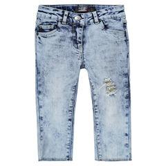 Júnior - Pantalón de tela vaquera con efecto gastado