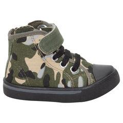 Zapatillas deportivas altas de tela con estampado militar