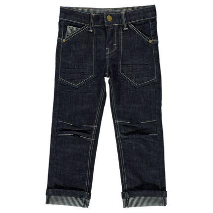 Jeans avec poches et revers rayé