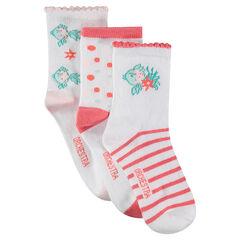 Juego de 3 pares de calcetines variados con peces de jacquard