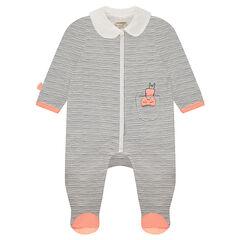 Pijama de punto de rayas con cuello tipo babero y forma de conejo en la espalda