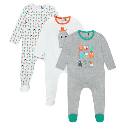 Pack de 3 pijamas de punto con monstruos bordados y estampados