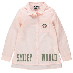 Camisa de manga larga con finas rayas y parches con inscripciones de Smiley