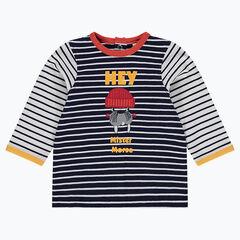 Camiseta de manga larga de rayas con textos estampados y morsa bordada