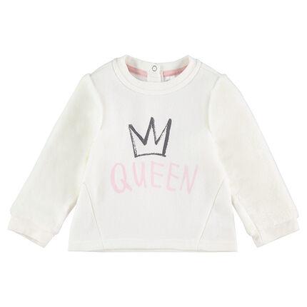 """Sudadera de felpa con dibujo y mensaje """"Queen"""" estampado"""