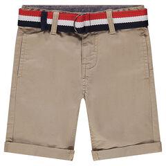 Júnior - Bermudas de sarga lisa con cinturón tricolor extraíble