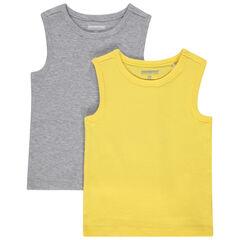 Juego de 2 camisetas sin mangas de algodón ecológico lisas