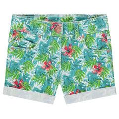 Pantalón de algodón de fantasía con estampado tropical all over