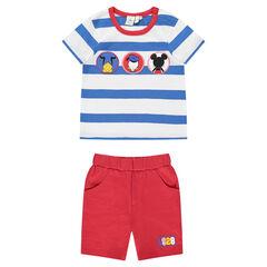 Conjunto de playa Disney con camiseta de rayas y bermudas lisas