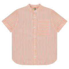 Camisa de manga corta con rayas y bolsillo