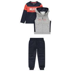 Chándal de 3 piezas con camiseta bicolor, chaqueta con capucha y pantalón liso