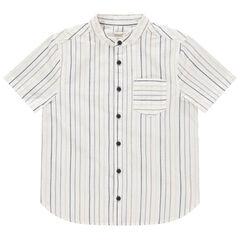 Chemise manches courtes en coton à rayures et poche , Orchestra