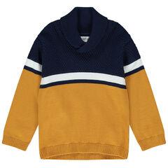 Pull en tricot col châle à bandes contrastées
