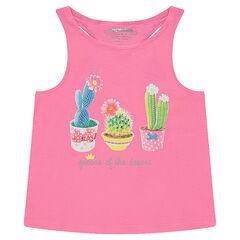 Camiseta de punto sin mangas con estampado de fantasía