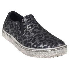 Zapatillas de deporte de caña baja con estampado con purpurina con leopardo