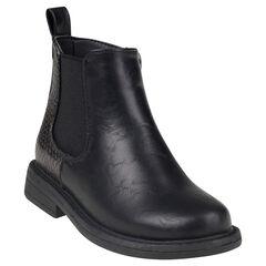 Botines de aspecto cuero de color negro con aplicación