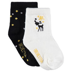 Juego de 2 pares de calcetines variados con pavo real y lunares de jacquard