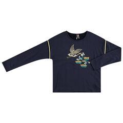 Júnior - Sudadera de felpa con pájaro bordado por delante