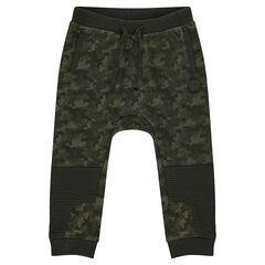 Pantalón de chándal de felpa con estampado militar