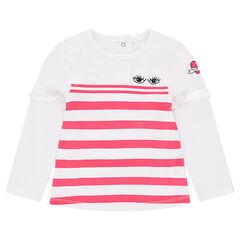 Camiseta de manga larga con punto de rayas y volante en las mangas