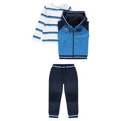 Chándal de 3 piezas con camiseta de rayas, chaleco y pantalón liso