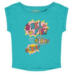 Camiseta de manga corta forma cuadrada con estampado de fantasía
