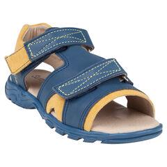 Zapatos descubiertos con velcro de cuero y de tela bicolor