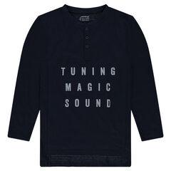 Júnior - Camiseta larga de punto de fantasía con texto de relieve