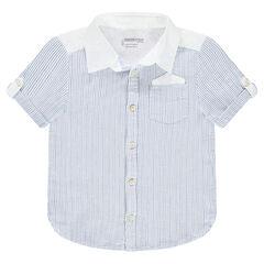 Camisa de manga corta de algodón fantasía con bolsillo