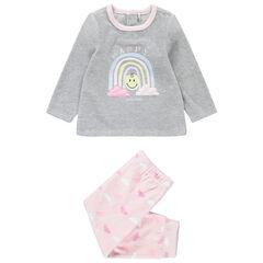 Pijama de terciopelo bicolor con estampado de Smiley y nubes de borreguillo