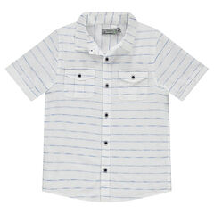 Júnior - Camisa de manga corta de rayas finas con bolsillos