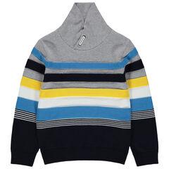 Jersey de punto con cuello cruzado y bandas en contraste