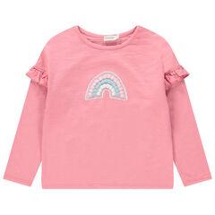 Camiseta de manga larga con volantes e arcoíris con pompones