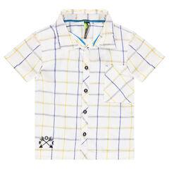 Camisa de manga corta de cuadros con dibujo bordado