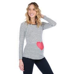 Camiseta de manga larga homewear con corazón estampado