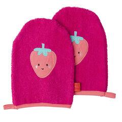 Juego de 2 guantes de baño con parches de frutas