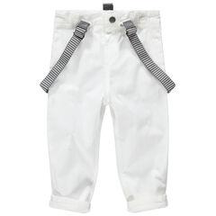 Pantalón blanco de gala con tirantes de rayas desmontables