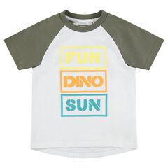 Camiseta de manga corta raglán con mensaje estampado