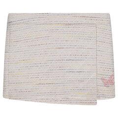 Falda cruzada de algodón de efecto tweed con mariposa bordada