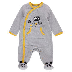Pijama de terciopelo con motivo de ©Smiley y bolsillo