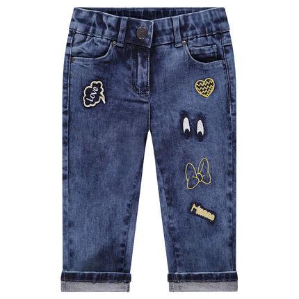 Pantalón corto vaquero con parches bordados Minnie ©Disney