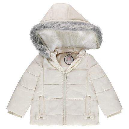 Parka acolchada con capucha extraíble y forro de sherpa