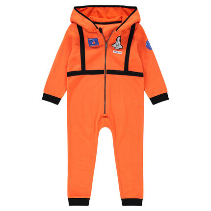 Bata de casa con capucha de polar estilo piloto con parche de cohete