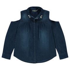 Júnior - Camisa de manga larga de cambray con hombros calados y piedrecitas en el cuello